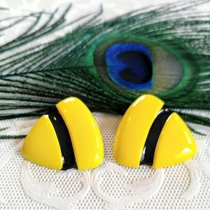 Jewelry - VINTAGE Fun Yellow Black Enameled Earrings-Stripe